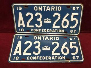 1967 Confederation Ontario license Plate Set