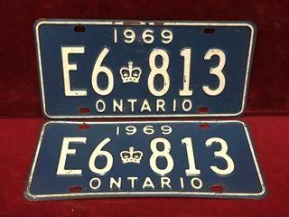 1969 Ontario license Plate Set