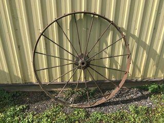 Antique 44  Steel Farm Implement Wheel