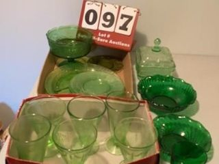 lot of Green Glassware
