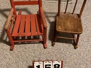 Pair of Wood Doll Chairs