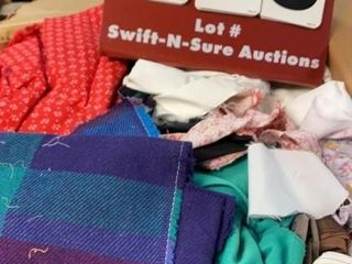 Box of Assorted Fabric Pieces