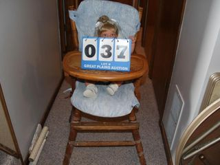 Vintage Wood High Chair and Doll