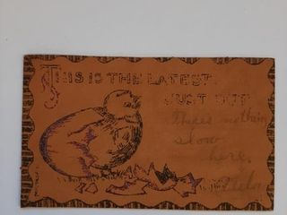 ANTIQUE TOOlED lEATHER POST CARD  CIRCA 1900 S