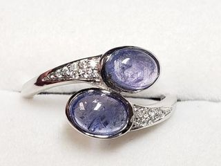 SIlVER TANZANITE RING  SIZE 7 WEIGHT 1 7G