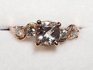 10K ROSE GOlD MORGANITE 1CT  DIAMOND 0 2CT RING