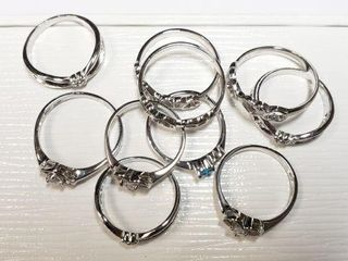 SIlVER PACK OF 10 ST SIlVER RINGS RING WEIGHT 17G