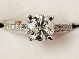 14K WHITE GOLD DIAMOND(0.98CT)DIAMOND(0.12CT)RING