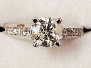 14K WHITE GOLD DIAMOND(0.98CT)DIAMOND(0.12CT)RING