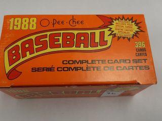1988 BASEBAll OPEE CHEE COMPlETE CARD SET