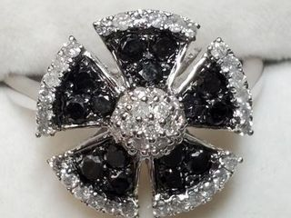 14K WHITE GOlD BlACK DIAMOND DIAMOND 1CT
