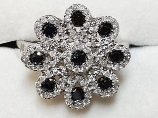 14K WHITE GOlD BlACK DIAMOND DIAMOND