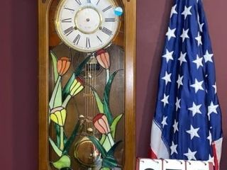 Korea Wall Clock w Stained Glass
