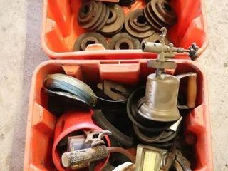 2 PlANT BOXES OF PUllEYS  PlANE  TORCH  ETC