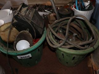 2 TOMATO BASKETS OF CABlES  PUllERS  ETC