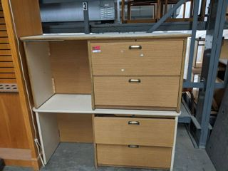 2  Office Desks With Attached File Cabinets