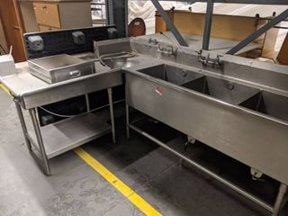 large l Shaped Stainless Steel Sink With Garbage Disposal Chute