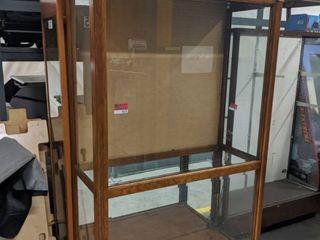 2  Wooden Frame Glass Display Shelves