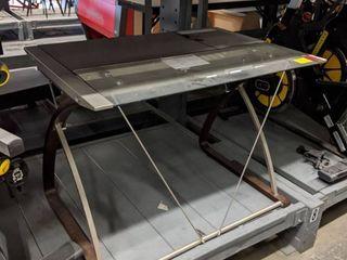 Metal Frame Glass Wood Top Desk