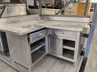 Stainless Steel l Shaped Corner Table