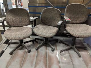 3  Matching Rolling Office Chairs