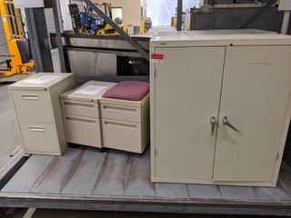 2  Metal Storage Cabinets And  3  Small Storage Shelves