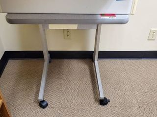 Small Gray Table On Wheels