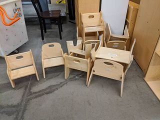 11  Assorted Kaplan learning Wooden Chairs
