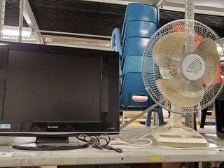 Sharp Monitor  lasko Fan  Solar Beam