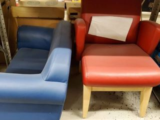 Blue Childrens Couch  Red Childs Chair