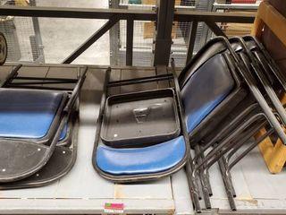 6  Folding Blue Chairs