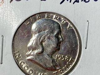 1958 D Ben Franklin Silver Half Dollar
