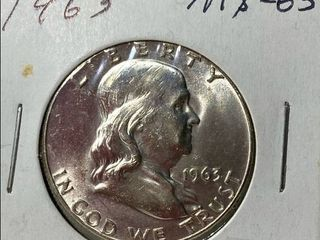 1963 Ben Franklin Silver Half Dollar