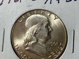 1961 D Ben Franklin Silver Half Dollar