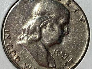 1957 D Ben Franklin Silver Half Dollar