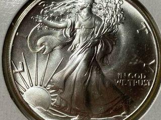 1986 Silver Eagle Dollar   1 oz of  999 fine Silver