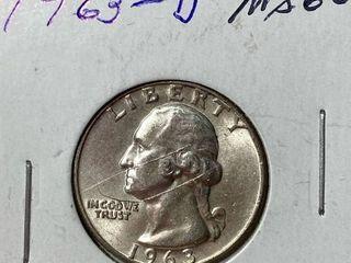 1963 D Washington Quarter Silver Dollar