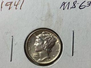 1941 Mercury Head Silver Dime  79 Years Old