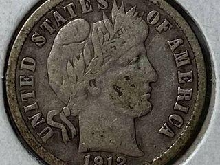1912 D Barber Silver Dime