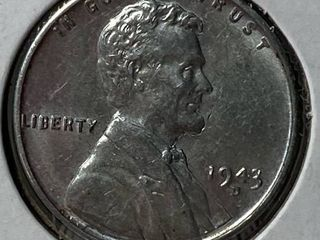 1943 D  SIlVER COlOR  lincoln Wheat Cent war Penny US Coin   Nice
