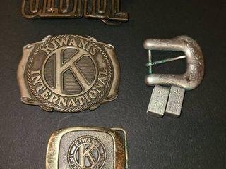 Belt Buckels  4 pcs  KIWANIS ClUB 2 pcs