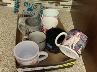 Coffee Mugs  Various Mugs 8 pcs  with 3 coasters