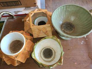 Faux Floral  Frogs  inside Pots