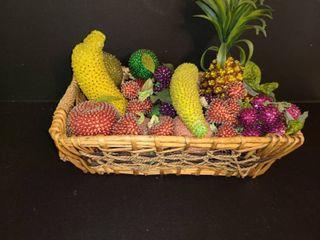 Basket full of Plastic Rhinestone Fruit