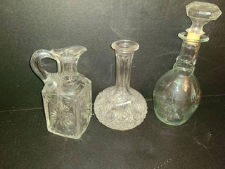 3 Glass liquor Decanters