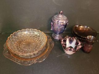 Pink and Purple Glass  8 pcs