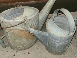 2 Vintage Galvanized Metal Watering Cans