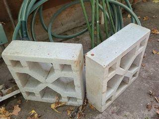 20 Gallon GOTT Trash Can  Garden Hose  6  6FT  Garden Stakes  and 2 decorative Cement Blocks