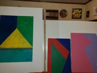 3 Art Paintings  2 on canvas 1 large 40 x 32 on foam board