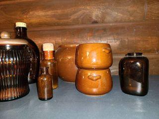Brown Glass  9 pcs